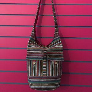 Burgundy Lightweight Stripy Shoulder Bag