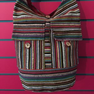 Close-up on Burgundy Lightweight Stripy Shoulder Bag