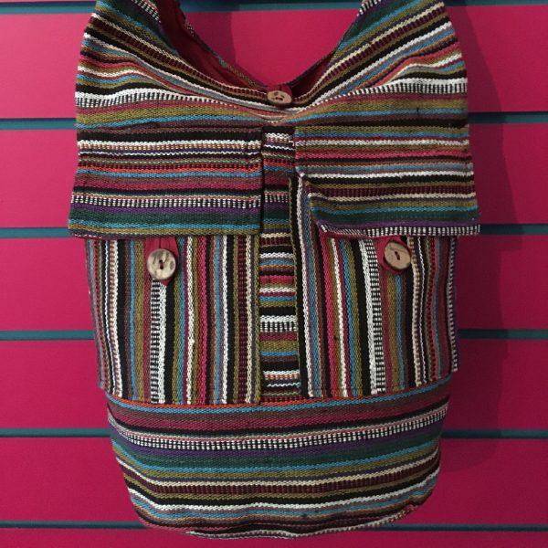 Close-up on Burgundy Lightweight Stripy Shoulder Bag