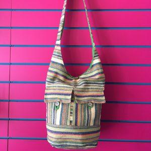 Green Lightweight Stripy Shoulder Bag