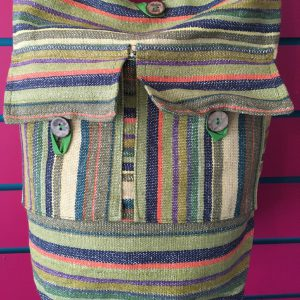 Close-up on Green Lightweight Stripy Shoulder Bag