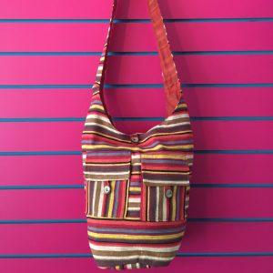 Orange Lightweight Stripy Shoulder Bag