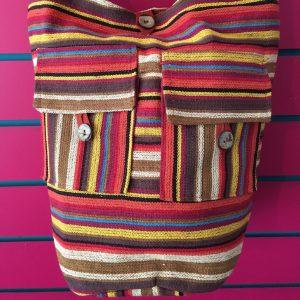 Close-up on Orange Lightweight Stripy Shoulder Bag
