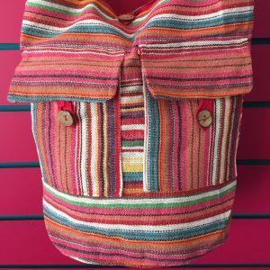 Close-up on Pink Lightweight Stripy Shoulder Bag
