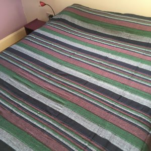 Woven Striped Double Bedspread Green and Burgundy