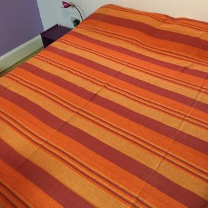 Woven Striped Double Bedspread Orange