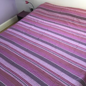 Woven Striped Double Bedspread Purple