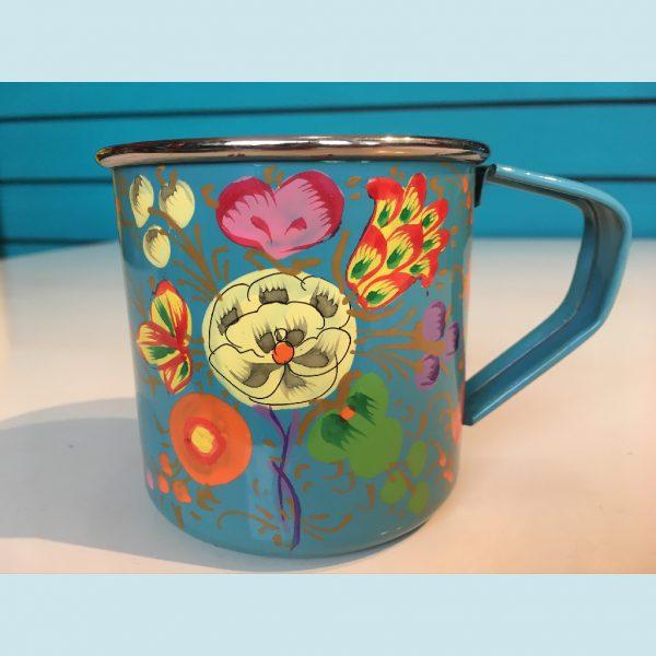 Blue Enamelware Cup